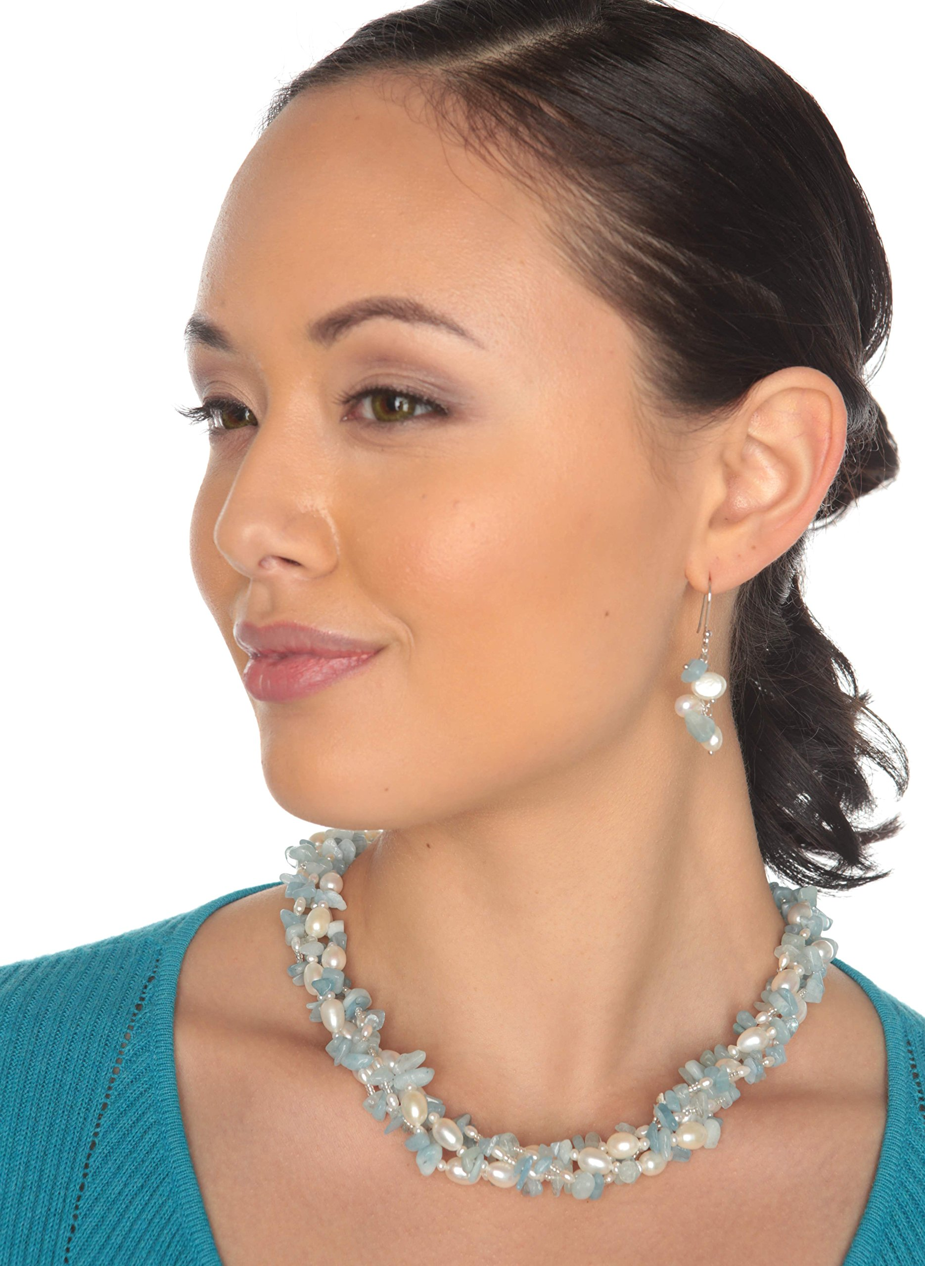 HinsonGayle 'Sky' 2-Strand Freshwater Cultured Pearl & Aquamarine Necklace & Dangle Earrings-40 in length by HinsonGayle Fine Pearl Jewelry (Image #4)