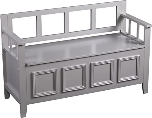 Richland Flip Top Wood Storage Bench, Gray