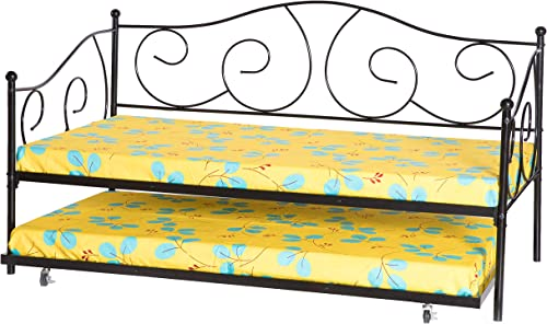 Bold Tones Black Twin Size Metal Daybed and Trundle Frame Set