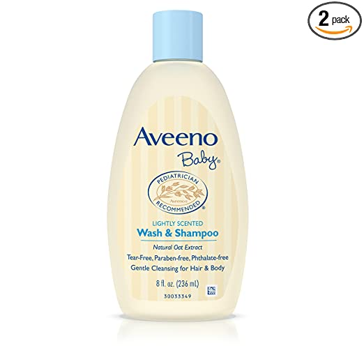 Aveeno Baby Wash & Shampoo, Lightly Scented, 8 Ounce (Pack of 2)