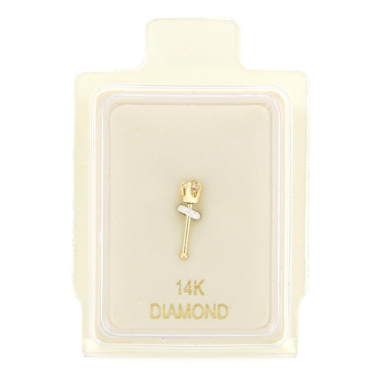 14K Yellow Gold 1.7mm .02 cttw Diamond Nose Ring Straight Stud 22G Lavari