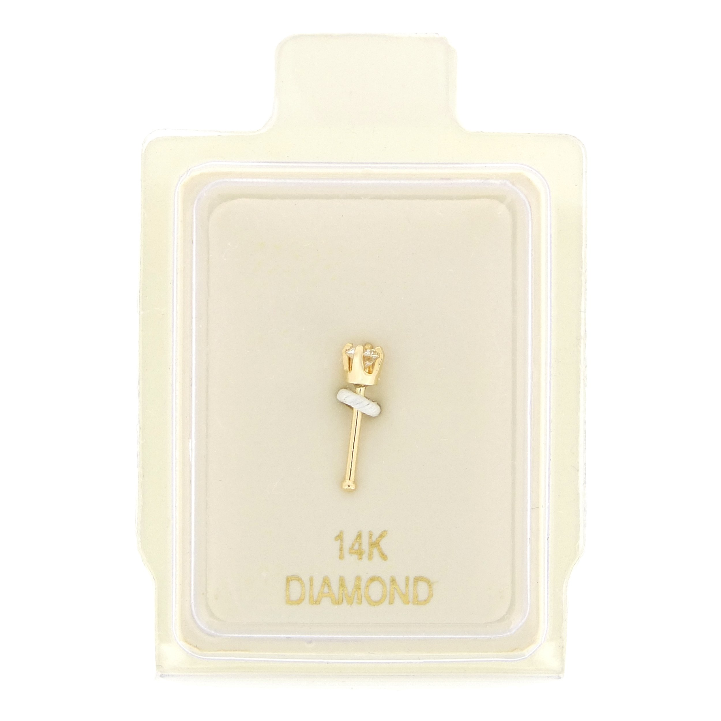 14K Yellow Gold 1.7mm .02 cttw Diamond Nose Ring Straight Stud 22G