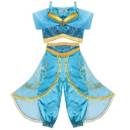 Tacobear Disfraz Jasmine Niña Princesa Jasmine Vestido Traje Princesa Jasmine para Halloween Cosplay Fiesta Carnaval (4-5 años)
