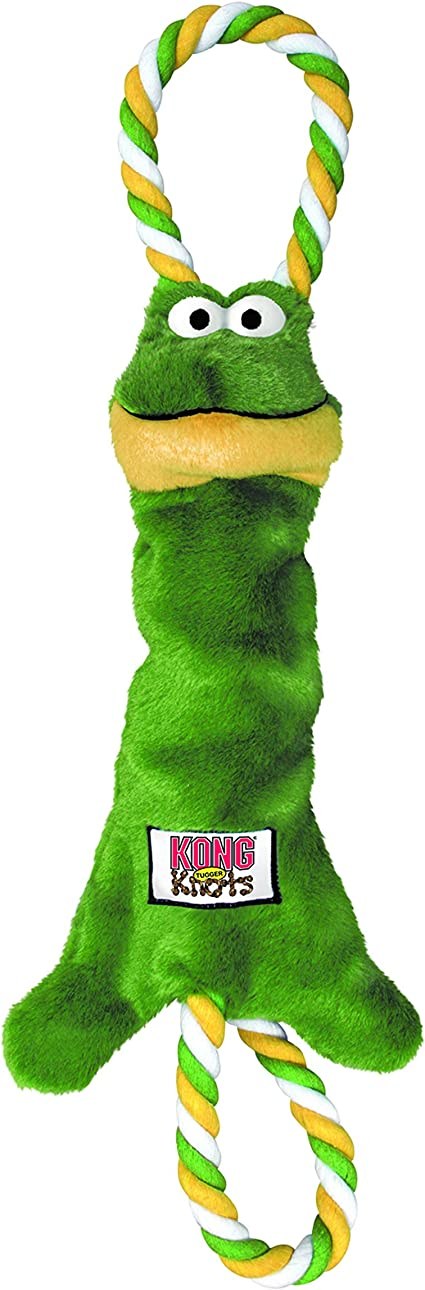 KONG Tugger Knots Frog Tug of War Dog Toy, Minimal Stuffing and Looped Ropes for added Strength For SmallMedium Dogs
