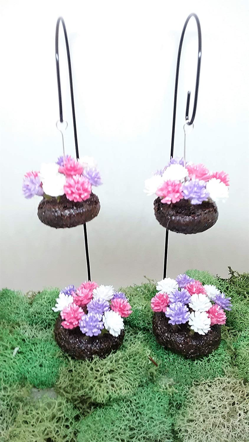 Pink Purple White Set of 4 Mini Hanging Baskets and Round Flower Beds Fairy Garden Accessories