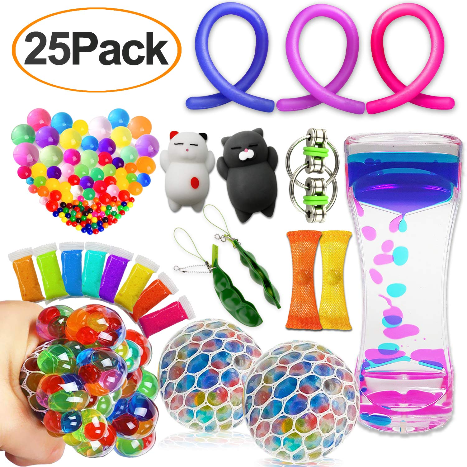 25 Pack Sensory Fidget Toys Set for Kids Adults, Stretchy String/Liquid Motion/Squeeze Grape balls/Snow Mud/Water Beads/Mesh Marble/Squeeze bean/Mochi Bubbler/Flippy Chain Gift for ADHD Autism Anxiety
