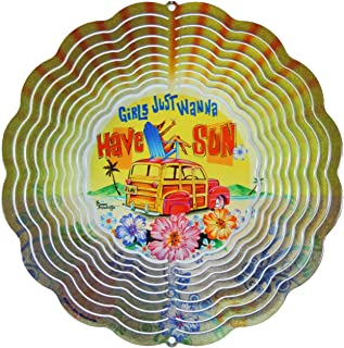 product image for Next Innovations 11.5 by 11.5-Inch Girls Just Wanna Have Sun Jim Mazzota Eyecatcher Wind Spinner, Medium