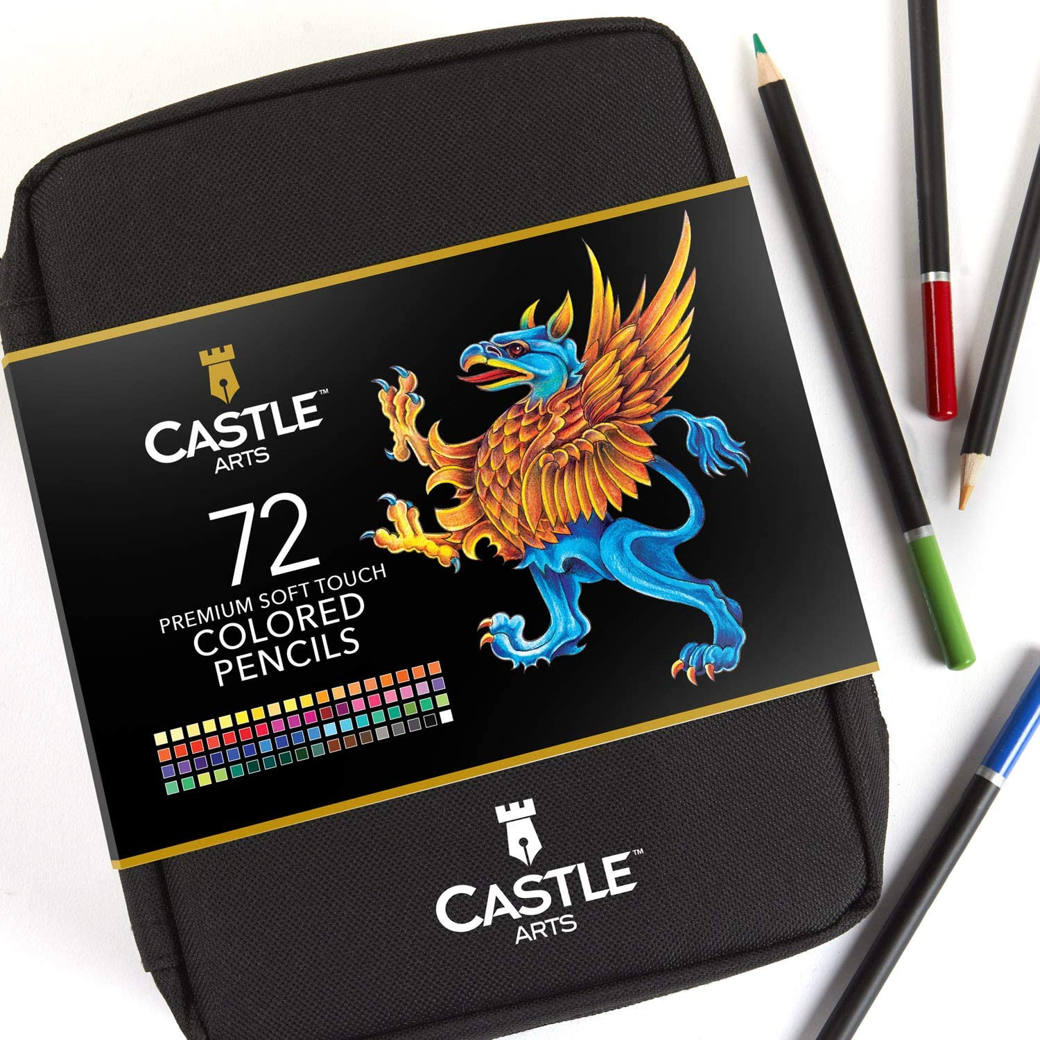 Castle Art Supplies 72 Coloured Pencils Zip-Up Set for Adults Artists