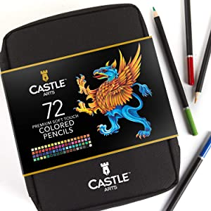 Castle Art Supplies 72 Colored Pencils Zip-Up Set for Adults Kids Artists | Perfect for Coloring Drawing Sketching Shading in an Easy Zipper Travel Case