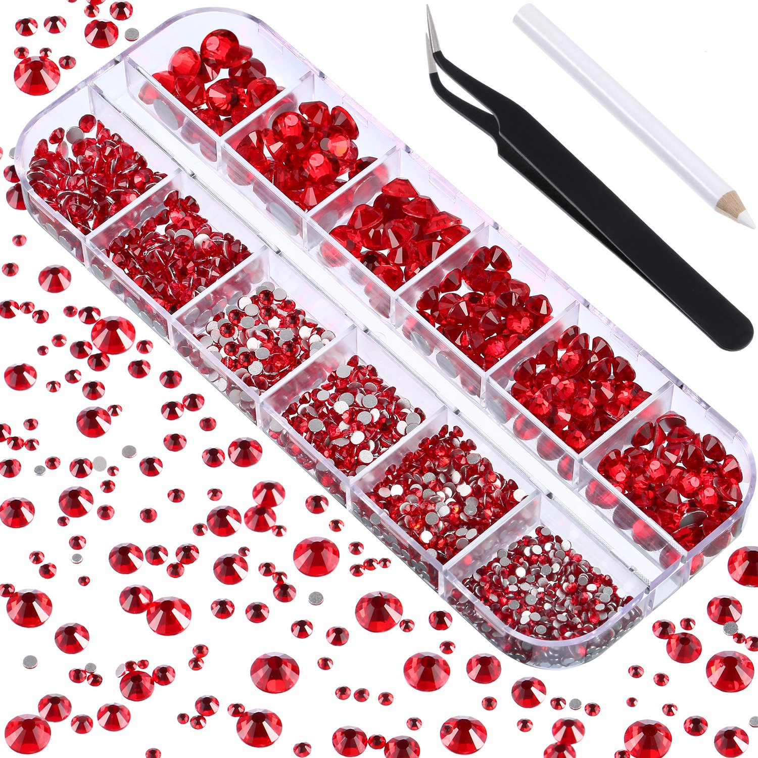 TecUnite 2000 Pieces Flat Back Gems Round Crystal Rhinestones 6 Sizes (1.5-6 mm) with Pick up Tweezer and Rhinestones Picking Pen for Crafts Nail Face Art Clothes Shoes Bags DIY (Paradise Shine)