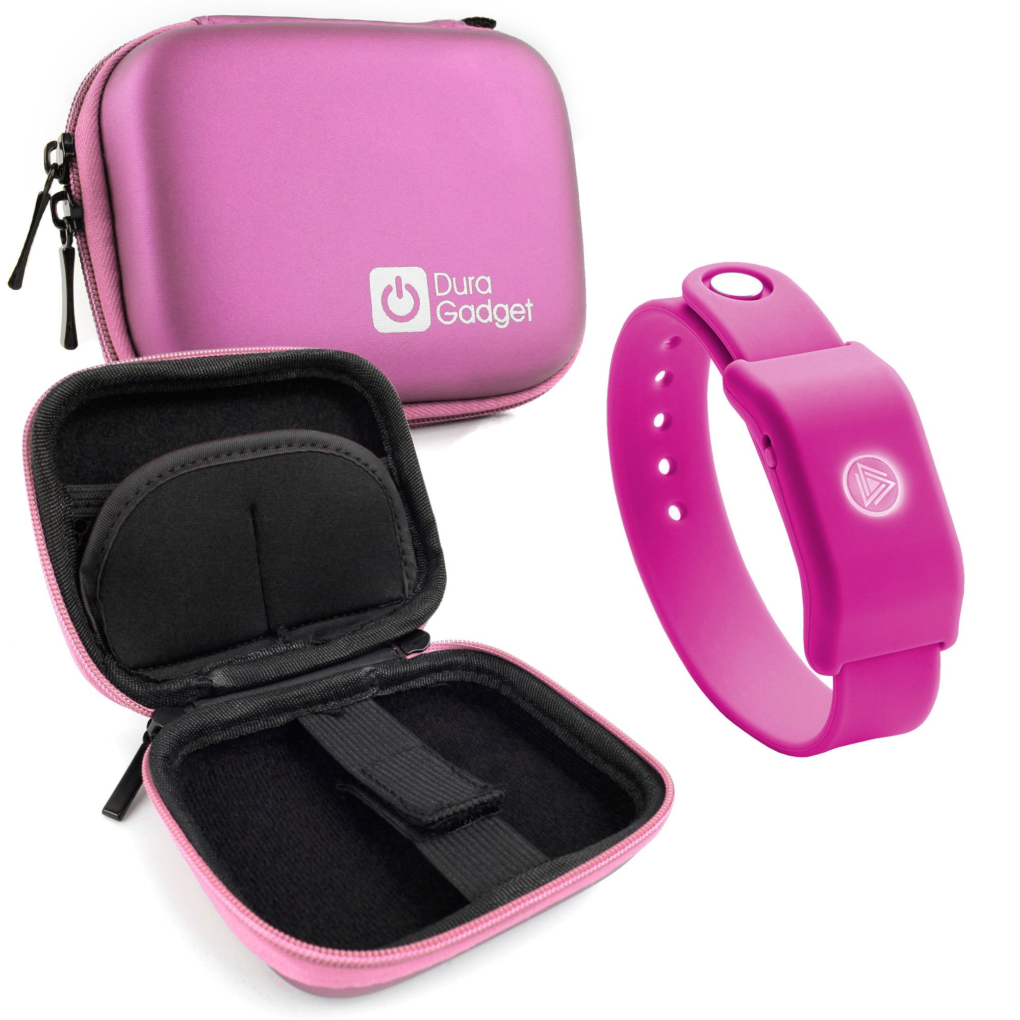 Pink Hard EVA Shell Case with Carabiner Clip & Twin Zips for the SoundMoovz Musical Bandz - by DURAGADGET