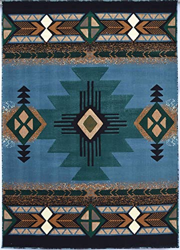 Rugs 4 Less Collection Southwest Native American Indian Area Rug Design R4L 318 Light Blue 8 x10