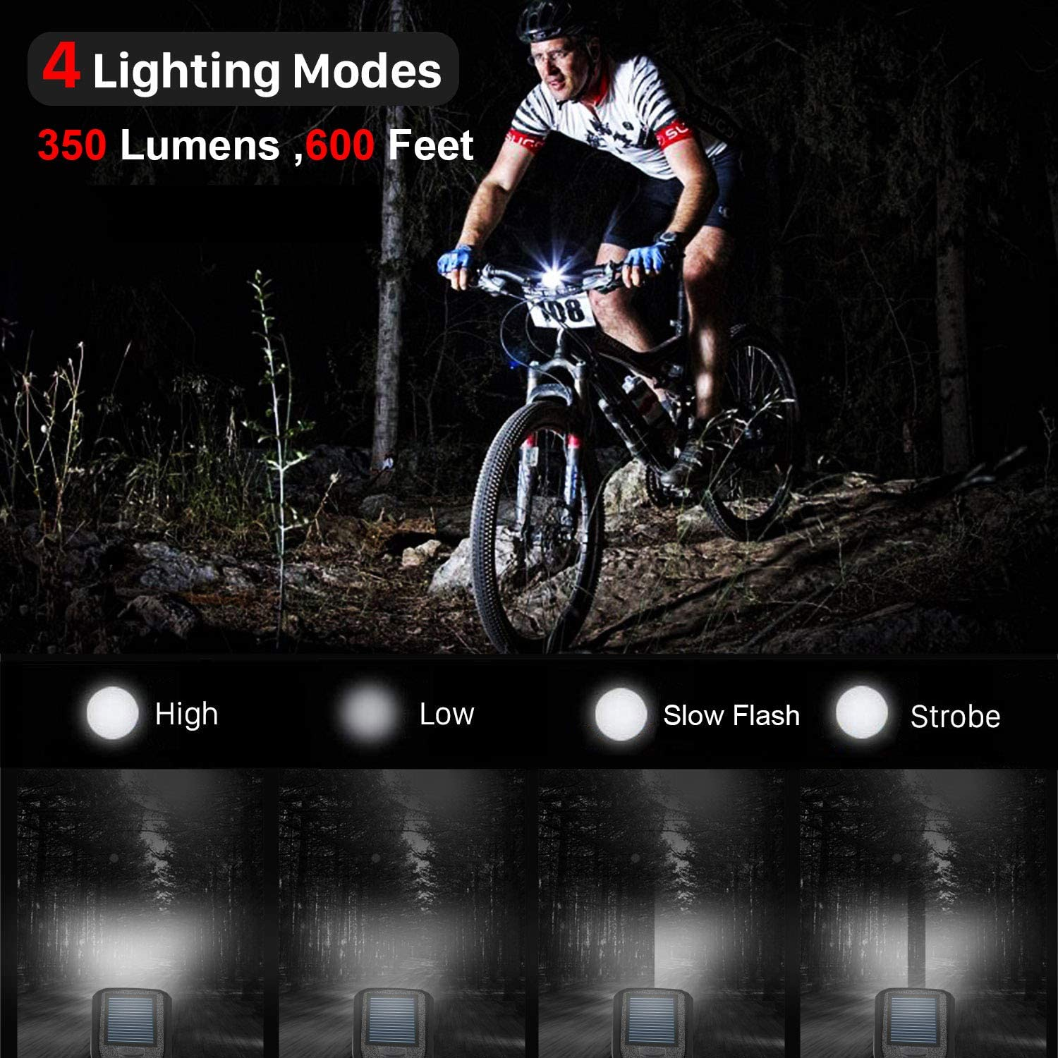 USB Rechargeable LED Bicycle Headlight Bike Head Light Front Lamp Cycling w//Horn