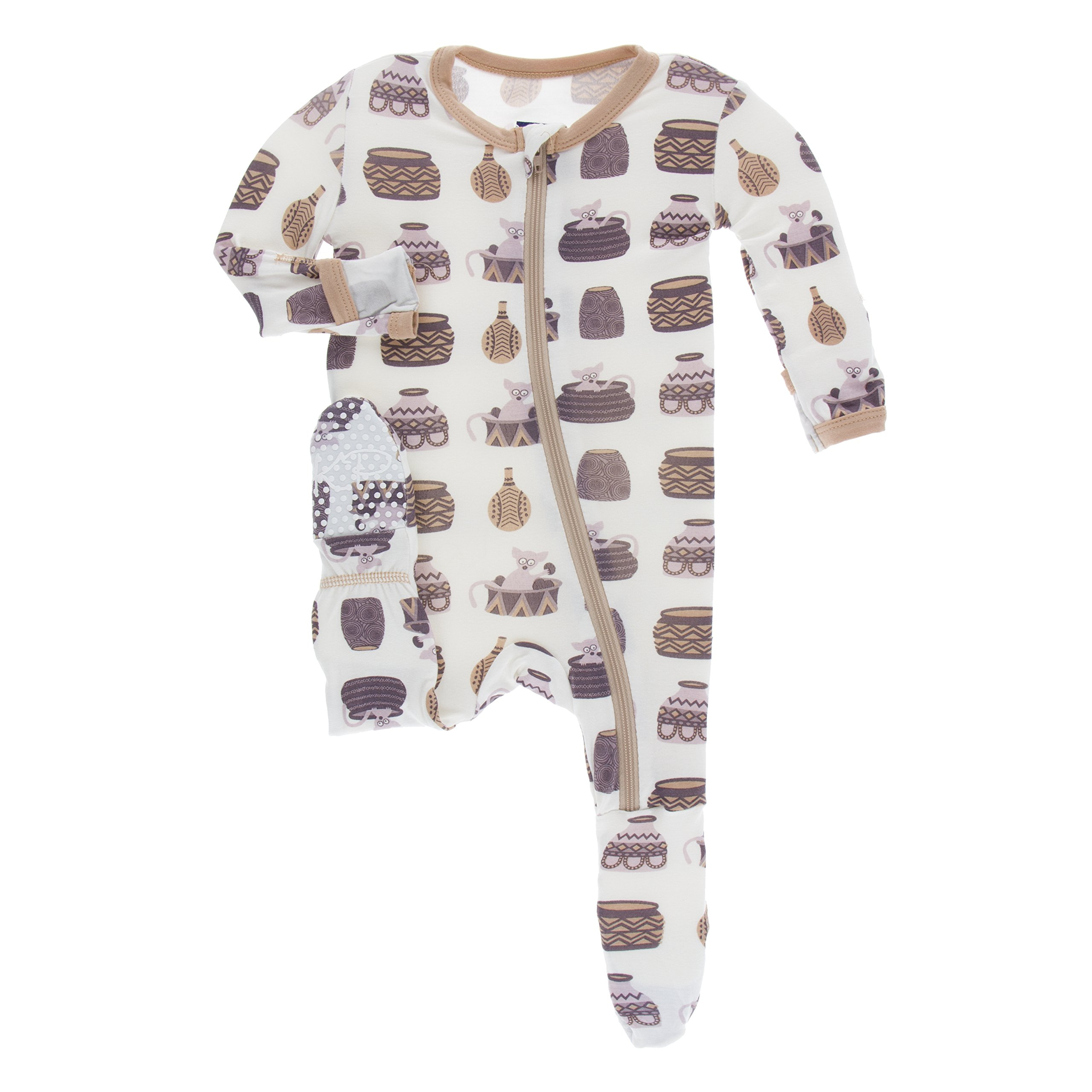 Kickee Pants Little Girls Print Footie with Zipper - Natural Bush Baby, 6 Years