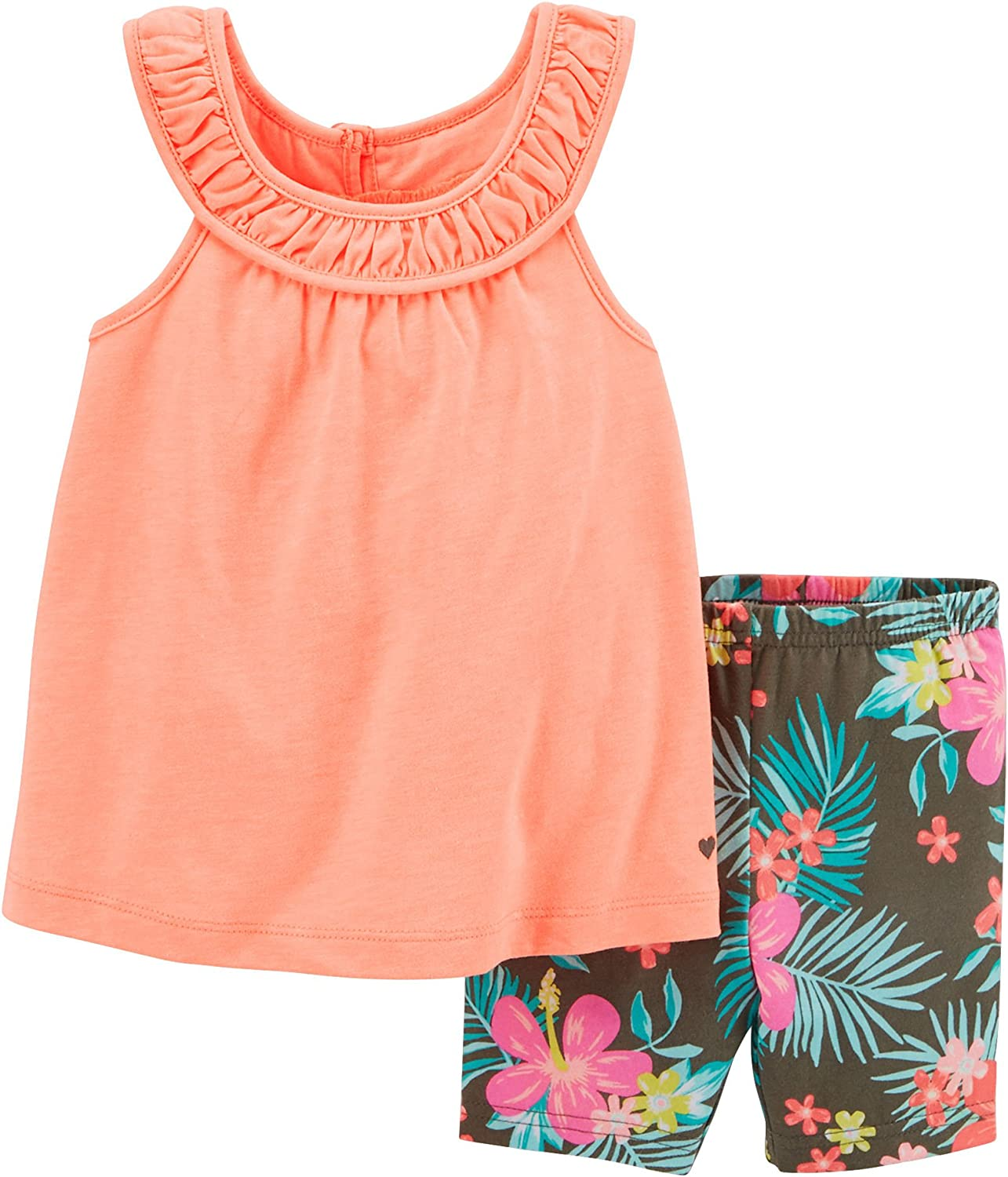Carters Baby Girls Floral Shorts Set 6 Month Coral//olive green