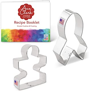 product image for Ann Clark Cookie Cutters 2-Piece Awareness Cookie Cutter Set with Recipe Booklet, Awareness Ribbon and Autism Puzzle Piece