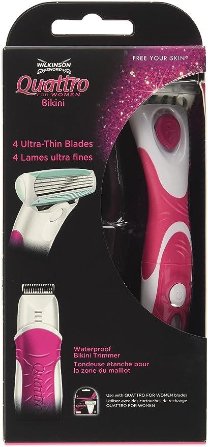 Wilkinson Sword Quattro For Women Bikini - Maquina femenina con cabezal de 4 hojas con banda