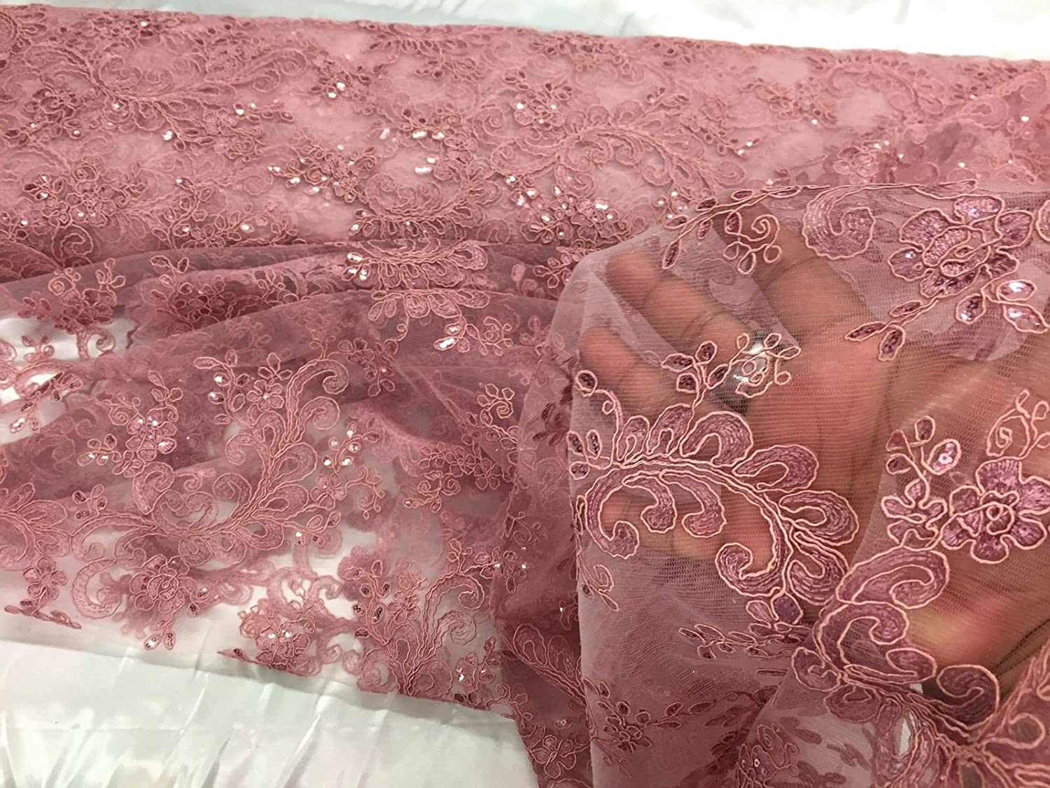 Dusty Rose French Corded Design embroider With Sequins On A Mesh Lace-prom-yard.