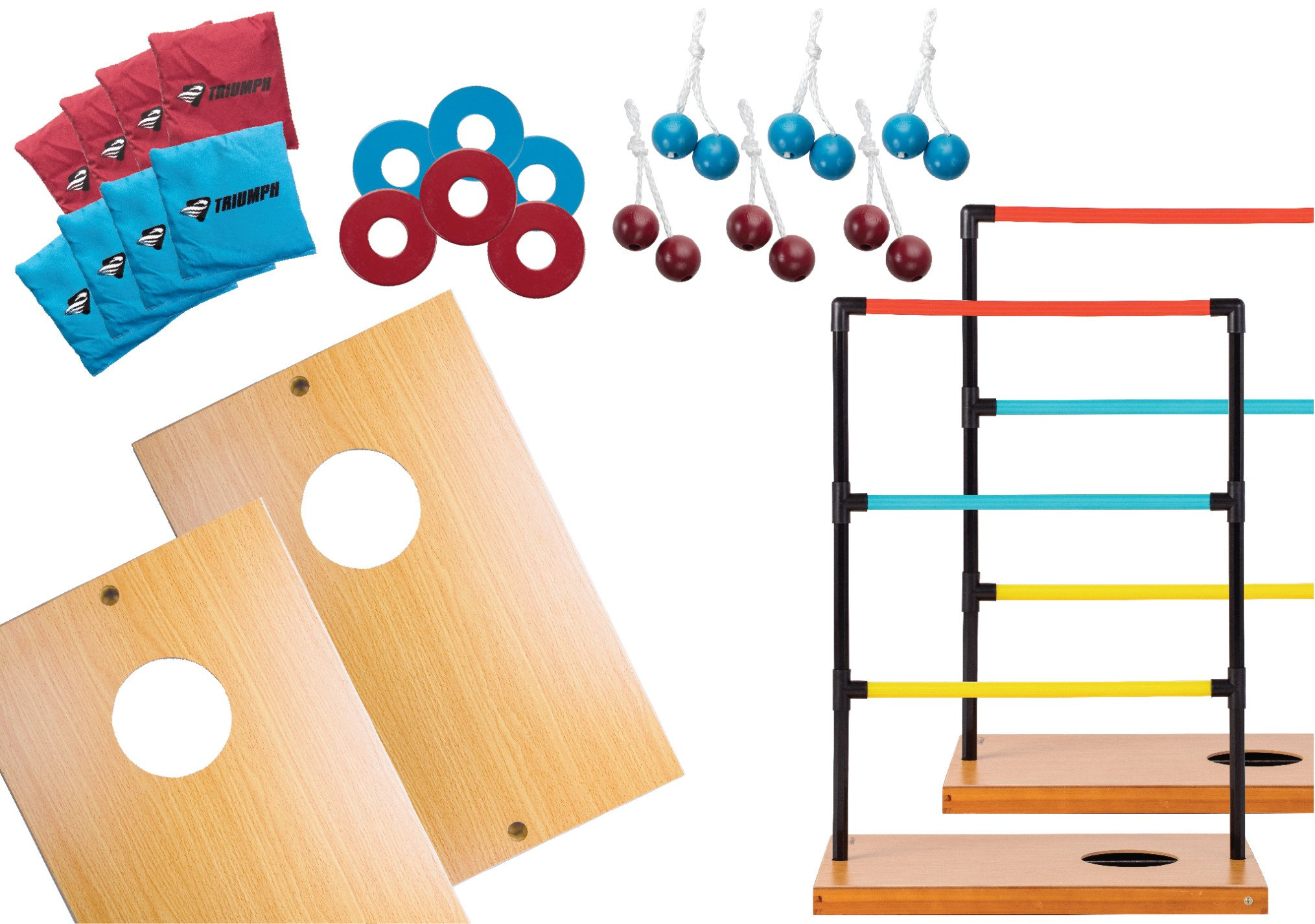 Triumph Sports Trio Toss Deluxe - 3-in-1 Ladder Toss, Washer Toss and Cornhole Game by Triumph Sports