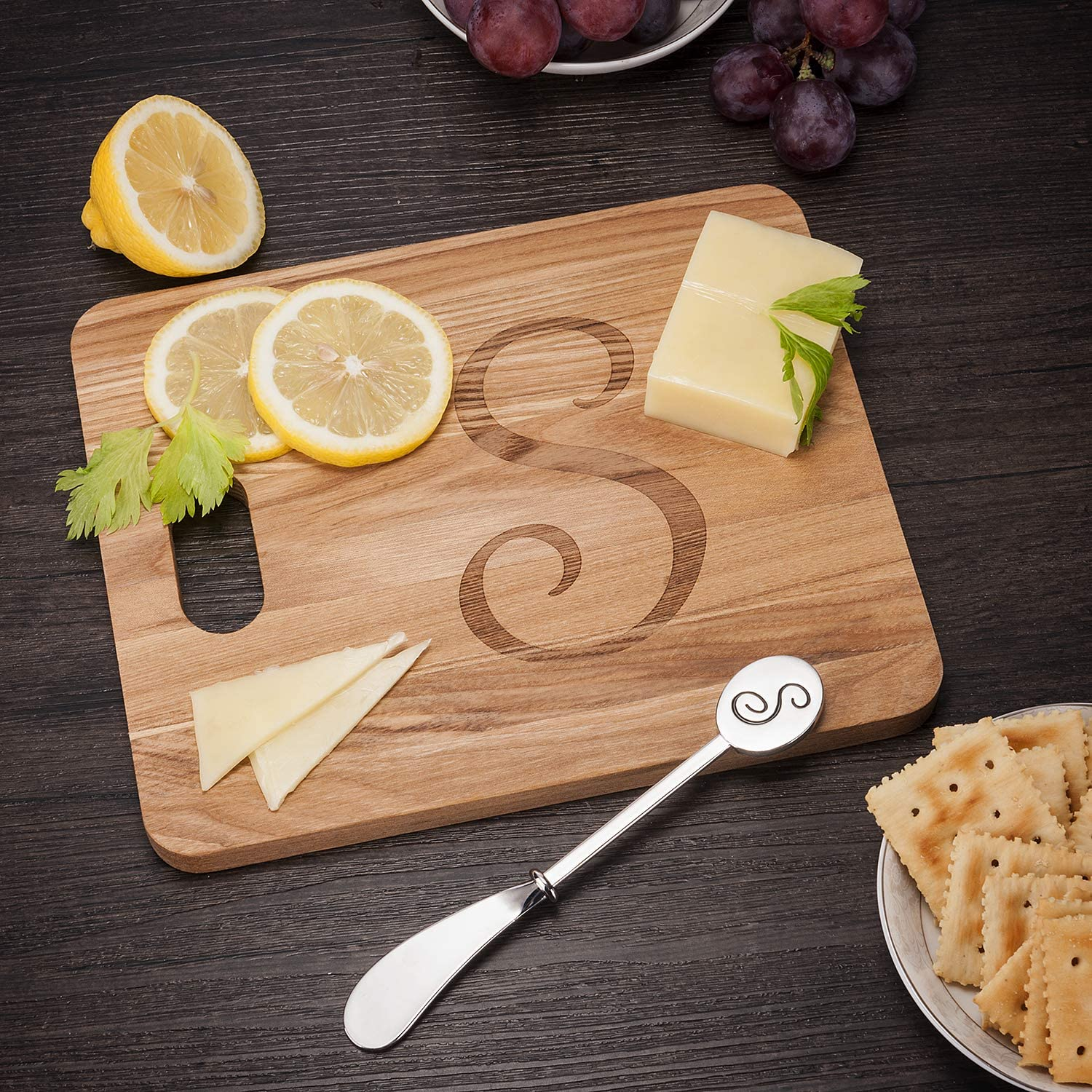 Monogram Fraxinus Mandshurica Solid Wood Cheese Board With Spreader-L