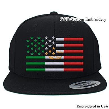 d733864549499d G&B Custom Embroidery USA Mexico Flag Combination Snapback Cap Hat  Embroidered (Black)
