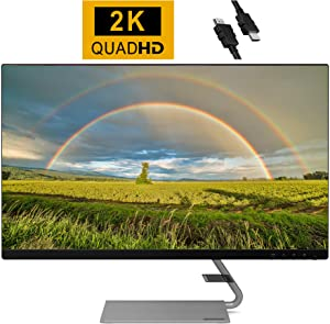 "2020 Flagship Lenovo 27"" QHD (2560 x 1440) 2K IPS Flat Panel Monitor 75Hz Refresh Rate AMD Freesync HDMI Display Port + iCarp HDMI Cable"