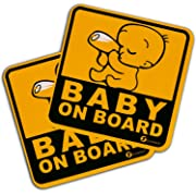 Zone Tech 2-Pack Baby On Board Vehicle Safety Magnet Sticker - 2-Pack Premium Quality Reflective Convenient Baby on Board Vehicle Safety Magnet Sign