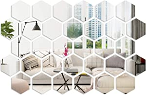 32 Pieces Hexagon Mirror Sticker with Clear Imaging Removable Acrylic Mirror Wall Stickers Hexagon Wall Decals Mirror Wall Stickers Wall-Mounted Mirrors for Living Room Bedroom Wall Decor