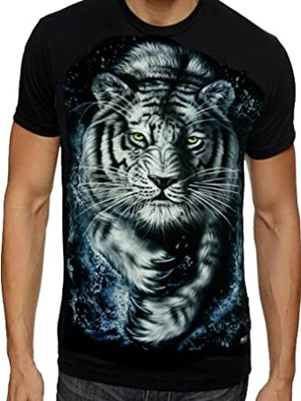 c1dddc6b07ef Mens Tiger T Shirts Indian Bengal Tiger White Snow Tiger Cubs T shirts FREE  P&P: Amazon.co.uk: Clothing