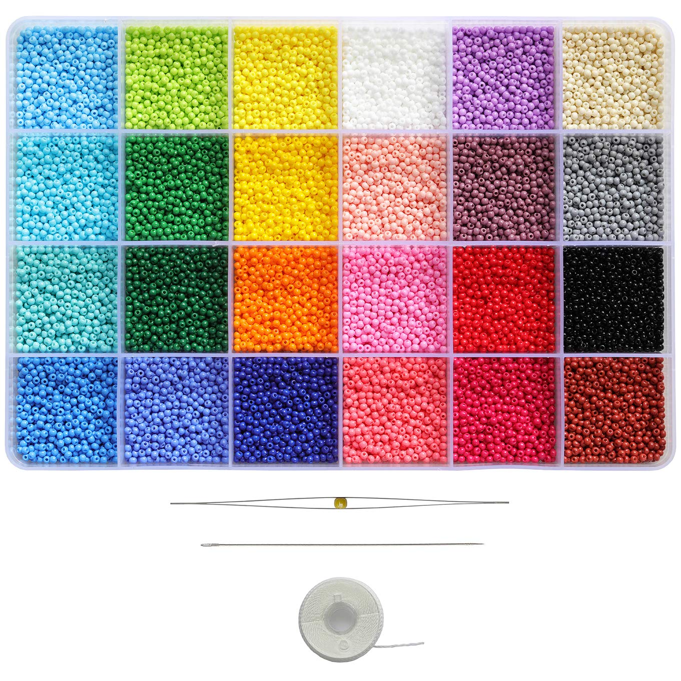 BALABEAD Size Almost Uniform Glass Seed Beads About 20000pcs Opaque Matte Colors Seed Beads 12/0 Glass Craft Beads 2mm Seed Beads for Jewelry Making, Hole 0.6mm(About 850pcs/Color, 24 Colors)