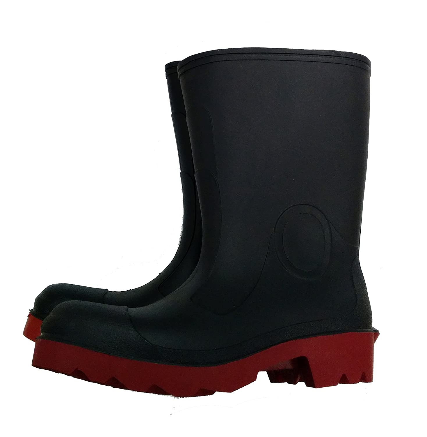 Herco 12' Steel Toe Rubber Rain Work Boots (Black/Red) - Men's Size 6 Hecht Rubber Corporation