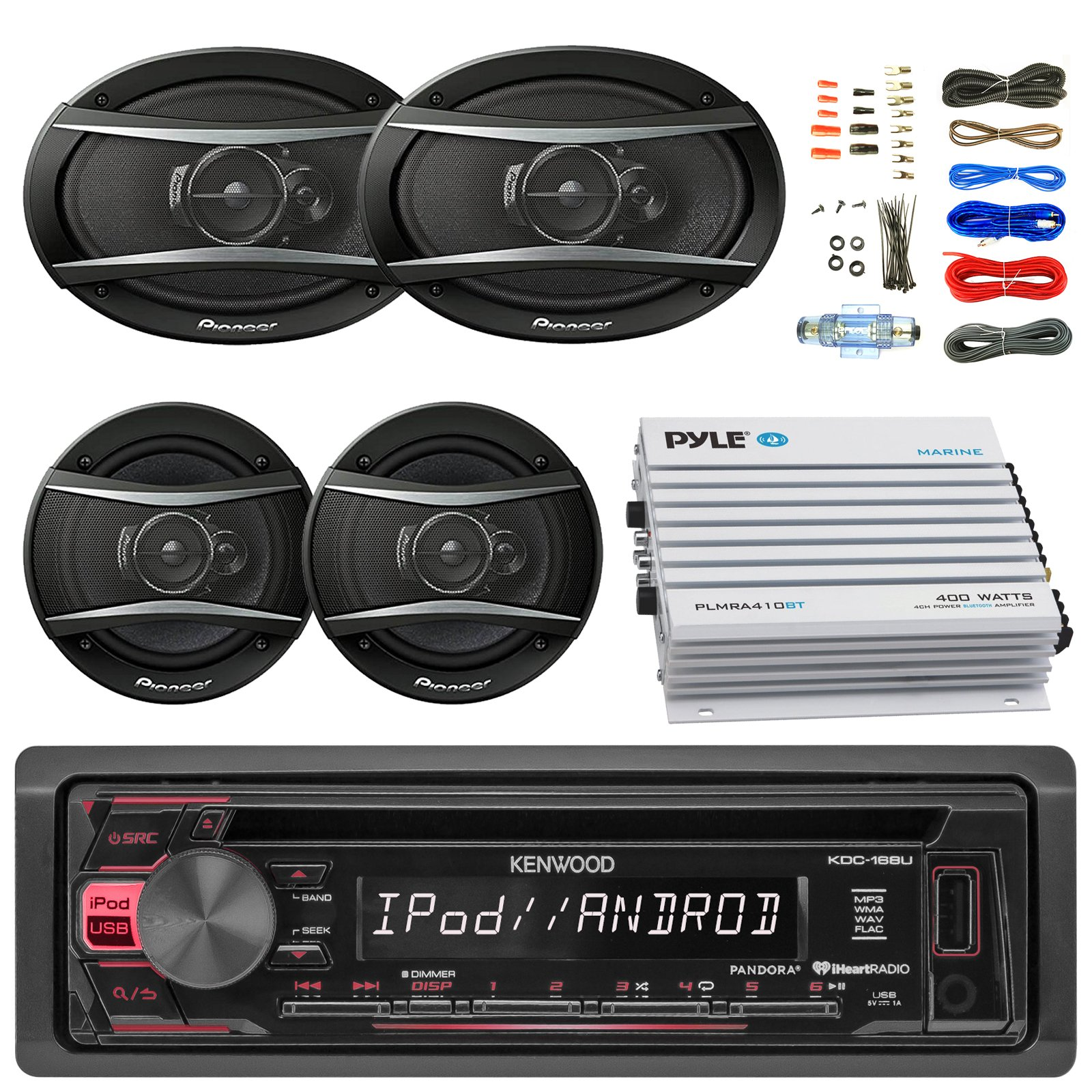 Kenwood KDC168U Car Radio USB AUX CD Player Receiver - Bundle With 2x TSA1676R 6.5'' 3-Way Car Audio Speakers - 2x 6.5''-6.75'' 4-Way Stereo Speaker + 4-Channel Amplifier + Amp Kit