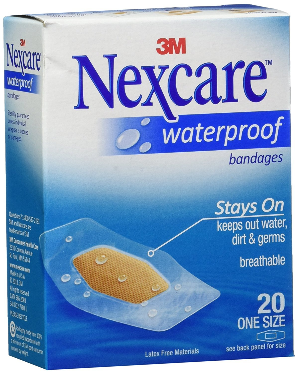 Nexcare Waterproof Clear Bandage, One Sizes, 20 ct Packages (Pack of 4)