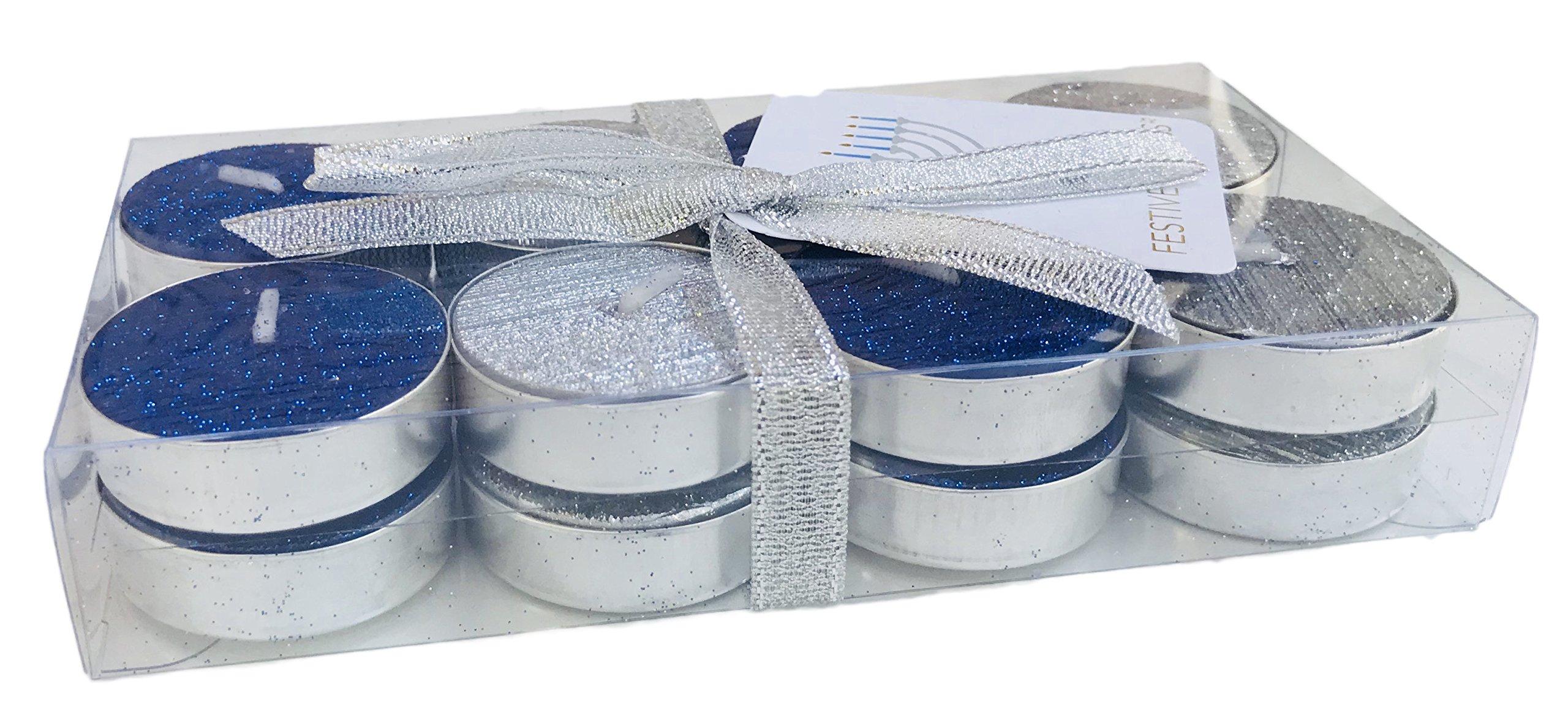 Festive Lights Blue and Silver 16 Hanukkah Themed Tea Candles