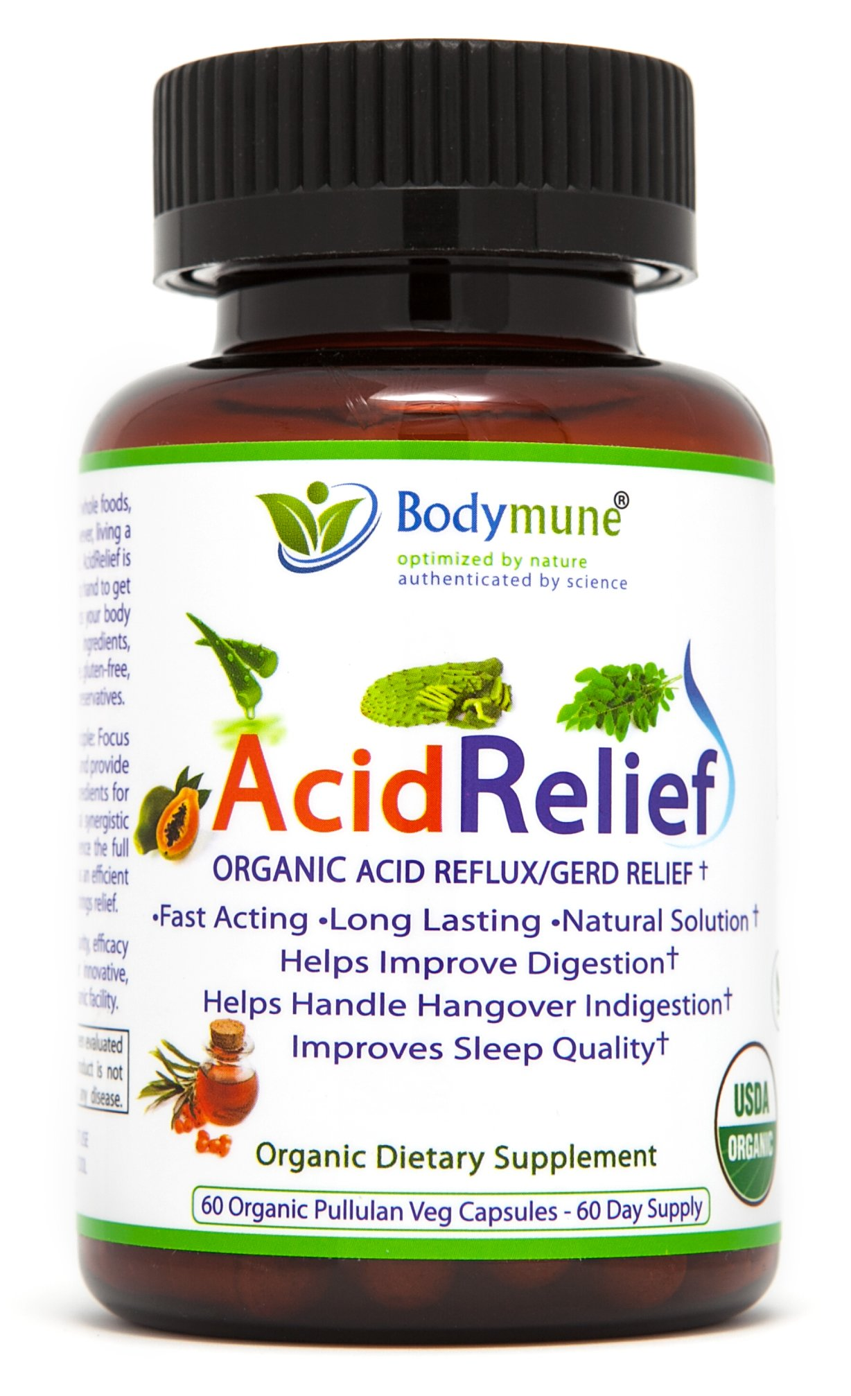Acid Relief, Antacid, GERD Relief, Indigestion Relief All Natural USDA Organic 100% Vegan Nutritional Support by Bodymune | Acid Reflux Relief, Heartburn Relief, Stomachaches, Digestion Help - 60 Cap by Bodymune (Image #4)