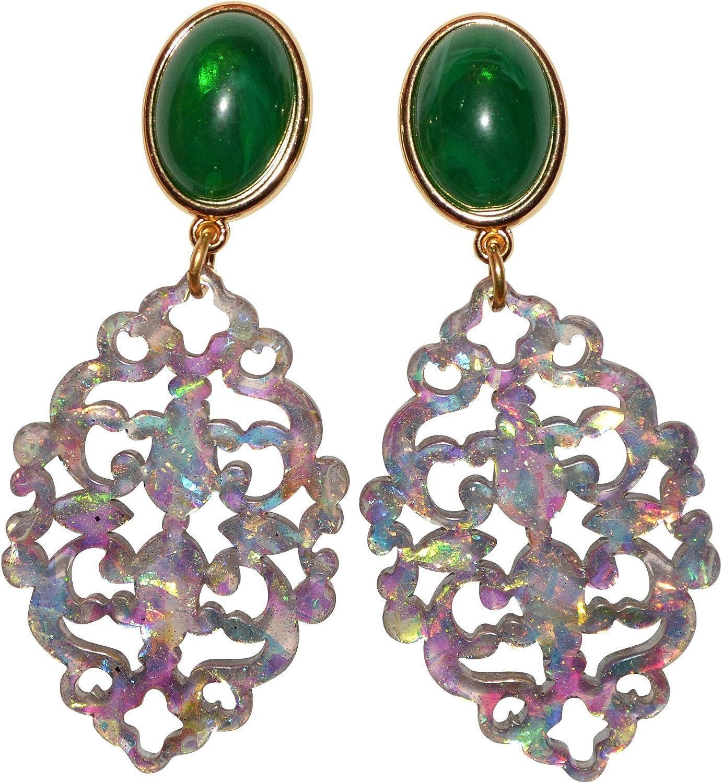 Para un gran auftritt: auffall Extremo, grandes Clip Pendientes (Dorado) con una piedra verde y un colgante de Gala en diferentes colores