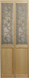 """LTL Home Products 861726 Giverny Half Glass Bifold Interior Solid Wood Door, 30""""X80"""", Unfinished"""