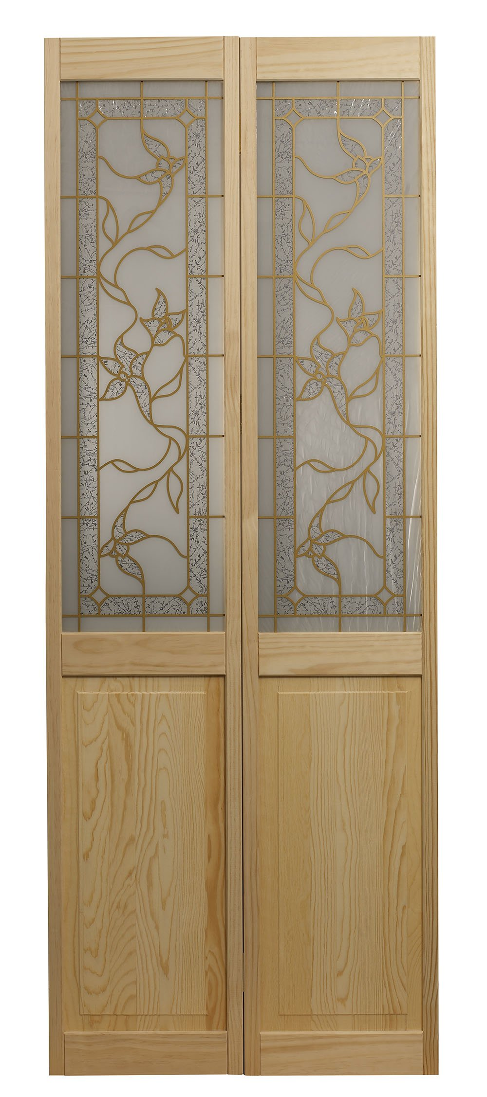 Pinecroft 861726 Giverny Half Glass Bifold Interior Wood Door, 30'' x 80'', Unfinished by LTL Home Products