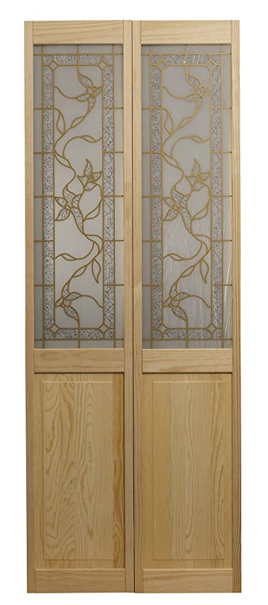 Pinecroft 861730 Giverny Half Glass Bifold Interior Wood Door, 36u0026quot; X  80u0026quot;,
