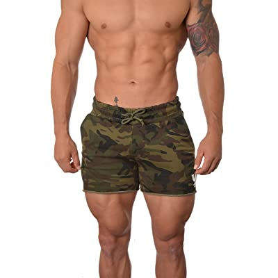 YoungLA Men's French Terry Solid Bodybuilding Gym Running Workout Shorts