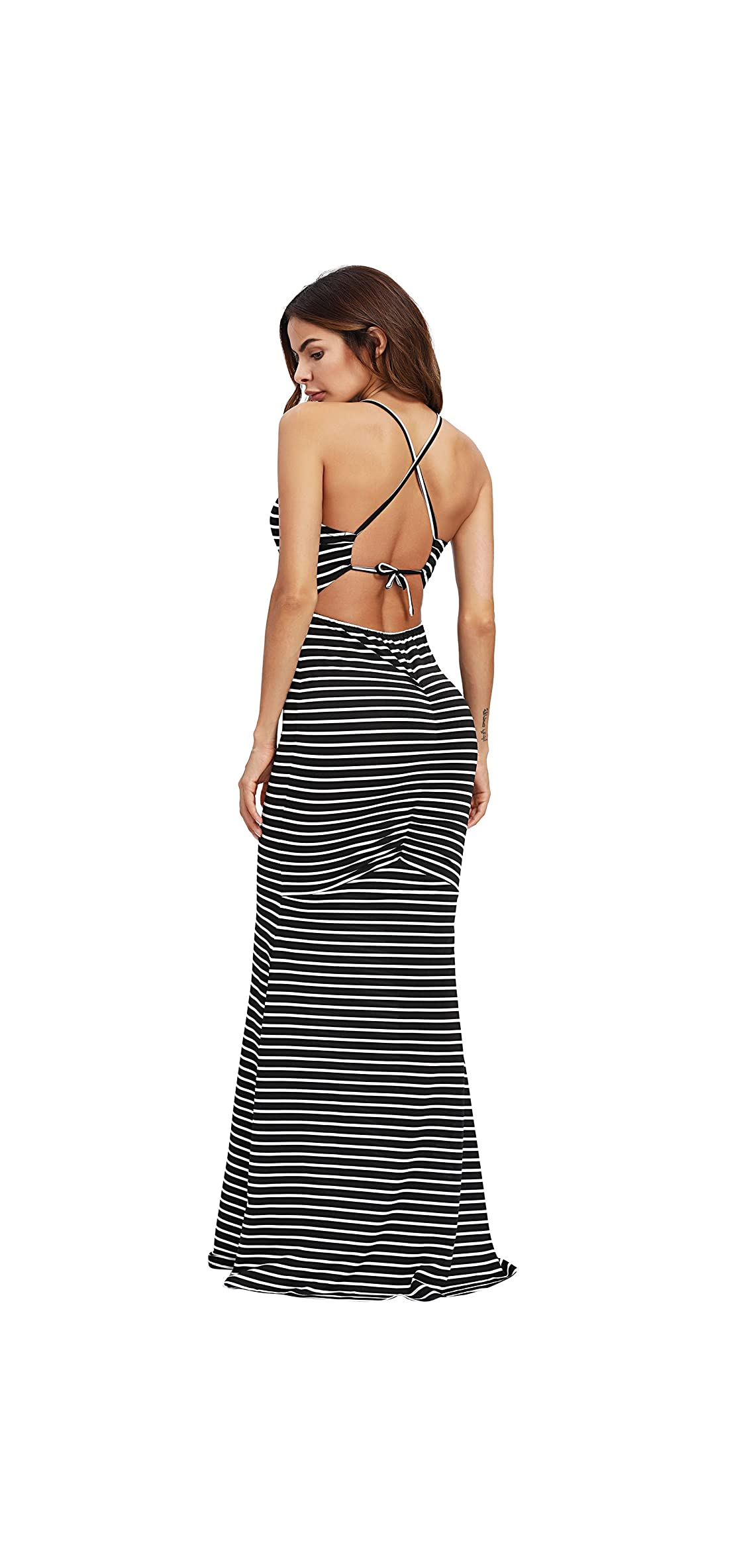 Women's Strappy Backless Summer Evening Party Maxi Dress