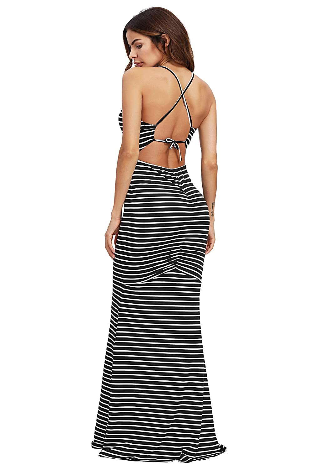 6cb10626a5b0 SheIn Women s Strappy Backless Summer Evening Party Maxi Dress at Amazon  Women s Clothing store