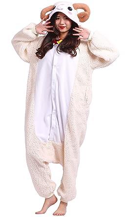 Unisex Adult Animal Pajamas Plush One Piece Cosplay Sheep (148-187cm)