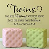 "Twins Two Little Blessings Sent From Above Twice the Smiles Twice the Love Vinyl Lettering Wall Decal Sticker (Black, 16.5""H x 30""L)"