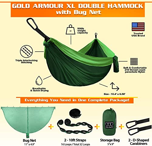 Gold Armour Camping Hammock – Extra Large Double Parachute Hammock 2 Tree Straps 32 Loops,20 ft Included USA Brand Lightweight Nylon Adults Kids, Camping Accessories Gear Green with Bug Net