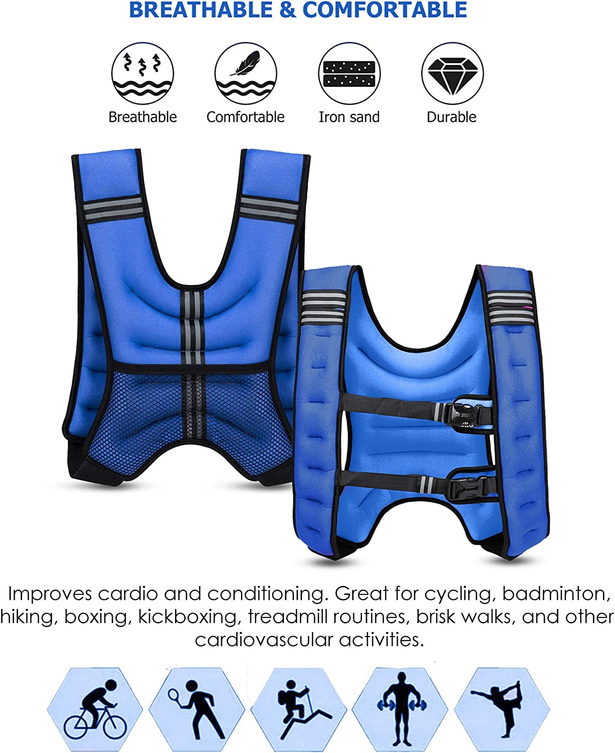 XN8 Weighted Vest Adjustable Jacket Running Strength Fitness Training 3.5-10Kg