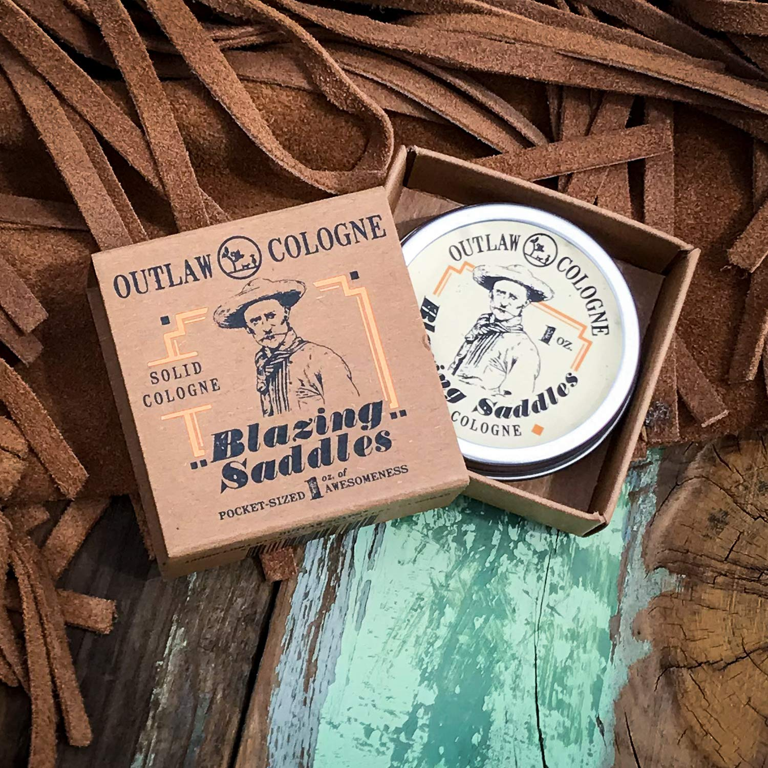Blazing Saddles Solid Cologne - The Sexiest Cologne Ever - 1 oz - Western Leather, Gunpowder, Sandalwood, and Sagebrush in a Pocket-sized Tin - Men's or Women's Cologne by Outlaw Soaps