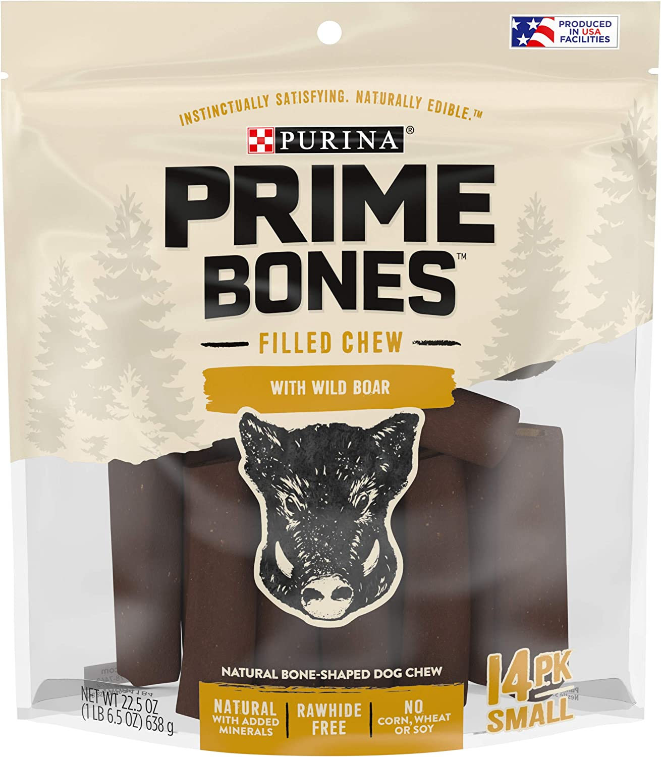 Purina Prime Bones Natural Dog Treats Made in USA Rawhide Free Wild Boar Filled Chew