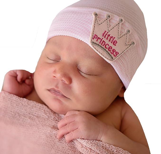 Amazon.com  Melondipity Little Princess Patch Newborn Girl Hospital Hat ( Pink White Stripes)  Clothing d2fd4c3cea41