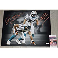$209 » JASON TAYLOR & ZACH THOMAS Signed MIAMI DOLPHINS 16x20 Photo + JSA COA/Signed in Orange Paint